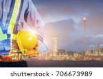 double exposure of engineer... | Shutterstock . vector #706673989