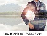 double exposure of engineer... | Shutterstock . vector #706674019