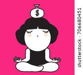 young girl doing meditation or... | Shutterstock .eps vector #706680451