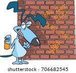 cartoon dog spraying graffiti... | Shutterstock .eps vector #706682545