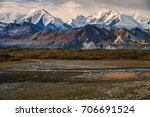 view of treeless ridges and... | Shutterstock . vector #706691524