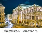 opera house in vienna at night  ... | Shutterstock . vector #706696471