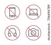 thin line no gadget signs set... | Shutterstock .eps vector #706696789