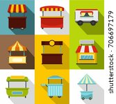 shop stand icon set. flat style ... | Shutterstock .eps vector #706697179