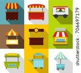 market shop stand icon set.... | Shutterstock .eps vector #706697179
