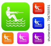 water skiing man set icon in... | Shutterstock .eps vector #706700551