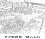 construction activities and... | Shutterstock . vector #706701199