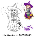 cute boy in magician costume... | Shutterstock .eps vector #706702045
