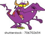 cartoon friendly purple monster ... | Shutterstock .eps vector #706702654