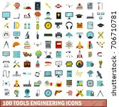 100 tools engineering icons set ... | Shutterstock .eps vector #706710781