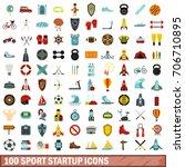 100 sport startup icons set in... | Shutterstock .eps vector #706710895