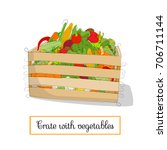 wooden crate with vegetables.... | Shutterstock .eps vector #706711144