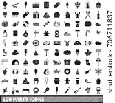 100 party icons set in simple...   Shutterstock .eps vector #706711837