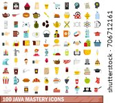 100 java mastery icons set in... | Shutterstock .eps vector #706712161