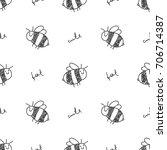 cute hand drawn seamless... | Shutterstock .eps vector #706714387