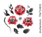 watercolor floral collection... | Shutterstock . vector #706714831