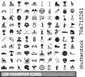 100 champion icons set in... | Shutterstock .eps vector #706715281