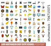 100 archaeology site icons set... | Shutterstock .eps vector #706715371