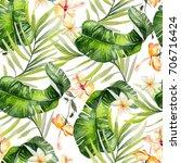 beautiful watercolor seamless... | Shutterstock . vector #706716424