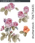vector set with bouquet of rose ... | Shutterstock .eps vector #706716631
