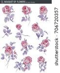 vector set with rose flower.... | Shutterstock .eps vector #706720357