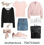 set of stylish clothes ... | Shutterstock . vector #706722664