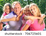 portrait of happy family in... | Shutterstock . vector #706725601