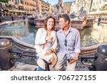 senior couple at navona square  ... | Shutterstock . vector #706727155