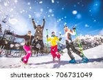 group of friends with ski on... | Shutterstock . vector #706731049