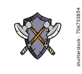 knightly coat of arms with... | Shutterstock .eps vector #706733854
