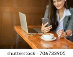 blur of young female freelancer ... | Shutterstock . vector #706733905