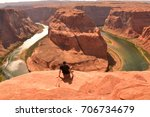 Horseshoe Bend   Man Looking A...