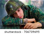 handsome young soldier wearing... | Shutterstock . vector #706739695