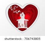 paper art carve of white couple ... | Shutterstock .eps vector #706743805