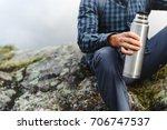 unrecognizable young traveler...   Shutterstock . vector #706747537