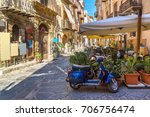narrow street in the old town... | Shutterstock . vector #706756474