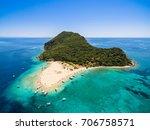 aerial view of marathonisi...   Shutterstock . vector #706758571