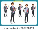 businessman character poses ... | Shutterstock .eps vector #706760491