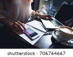 attractive woman work in the... | Shutterstock . vector #706764667