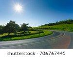 empty asphalt curvy road... | Shutterstock . vector #706767445