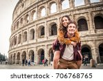 young couple at the colosseum ... | Shutterstock . vector #706768765