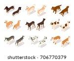 Vector Set Of Dog Isometric...