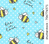 cute hand drawn bees and... | Shutterstock .eps vector #706776571