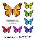 vector polygonal butterfly. low ... | Shutterstock .eps vector #706776979