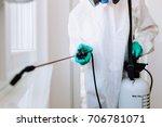 exterminator in workwear... | Shutterstock . vector #706781071