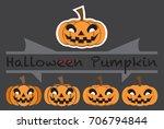 pumpkins emotions design cute... | Shutterstock .eps vector #706794844