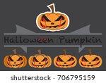 pumpkins emotions design cute...   Shutterstock .eps vector #706795159