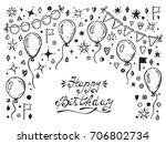 birthday party elements vector...   Shutterstock .eps vector #706802734
