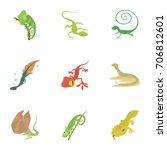 small lizard icons set. cartoon ... | Shutterstock .eps vector #706812601