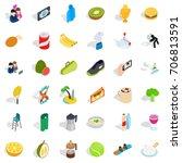 vigorous icons set. isometric... | Shutterstock .eps vector #706813591